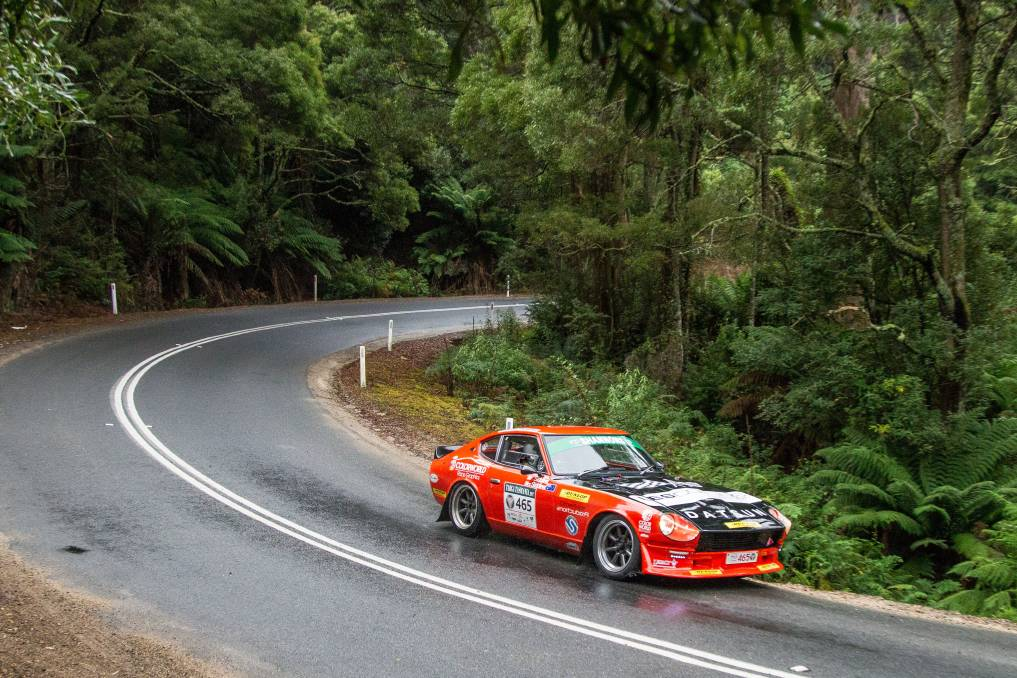 WEIGHING IN: Jon and Gina Siddins and their 47-year-old Datsun 240Z won the Shannons Classic GT category, taking 27 of the 33 competitive stages and finishing a remarkable ninth overall. Pictures: Angryman Photography