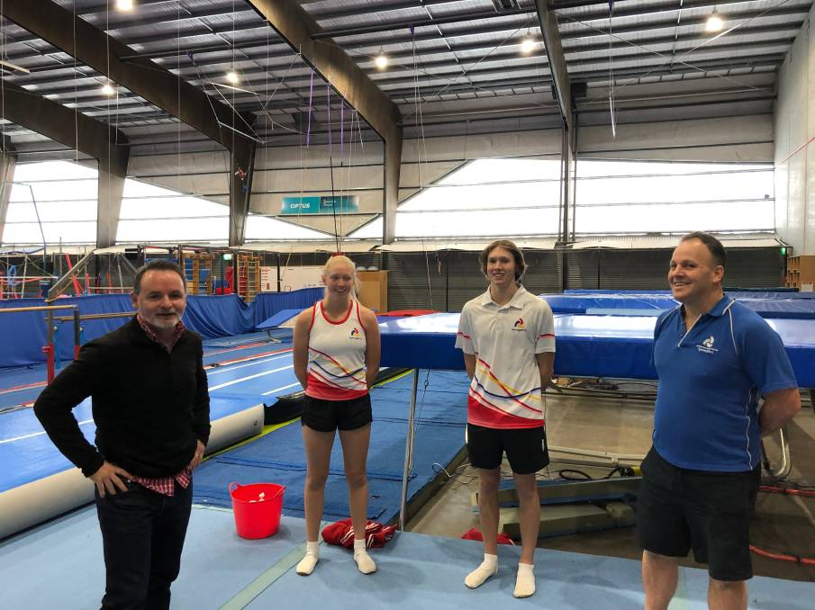 UNFAIR: Labor sport spokesman David O'Byrne with trampolinists Amber French and Matthew French of Tinderbox and Mark Moncur are upset at restrictions on indoor sporting facilities.