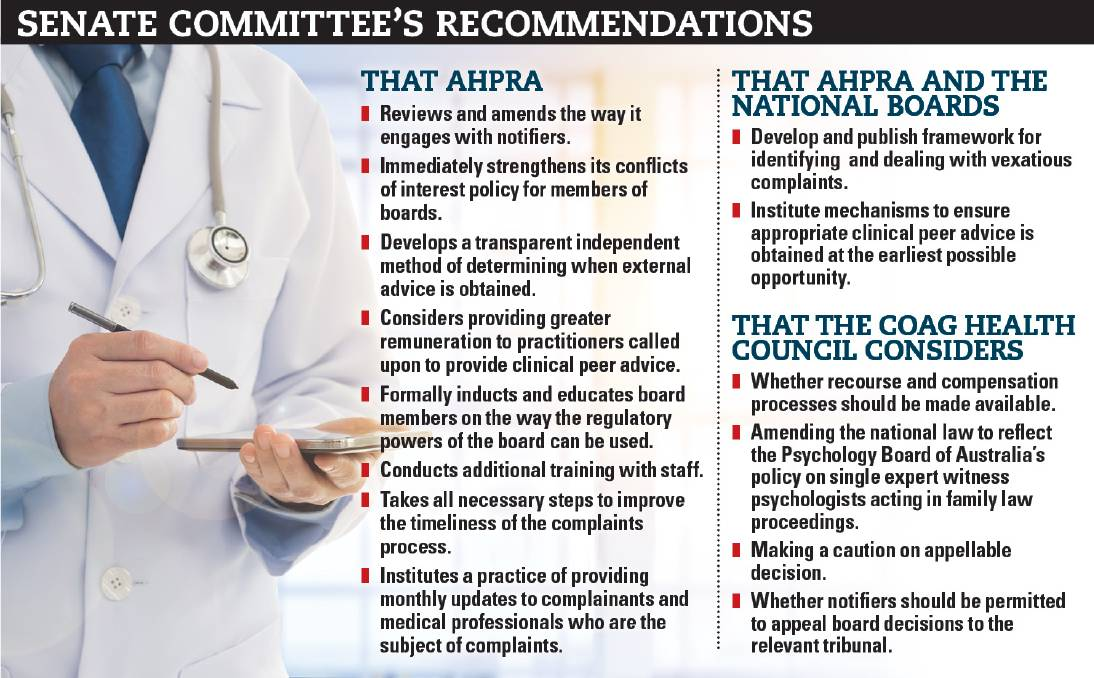 RECOMMENDATIONS: A Senate committee has made 14 recommendations following an inquiry into the complaints mechanism administered under the Health Practitioner Regulation National Law.