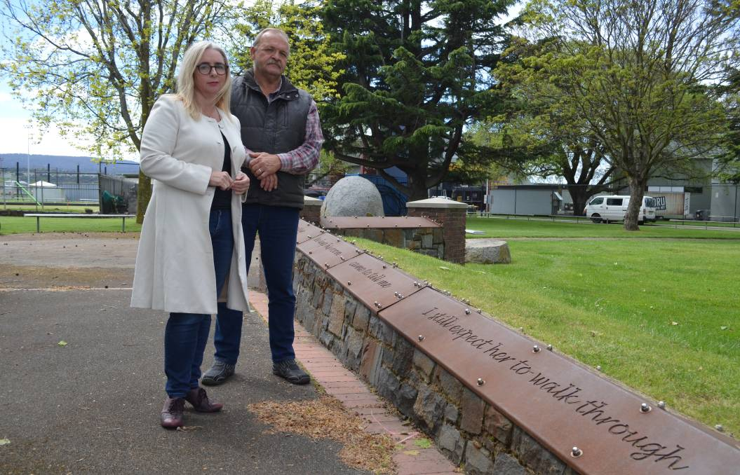 CHANGES: Labor's Michelle O'Byrne with Guy Hudson, whose son died in a workplace incident in 2004, at the Workers Memorial Park in Invermay. Picture: Adam Holmes