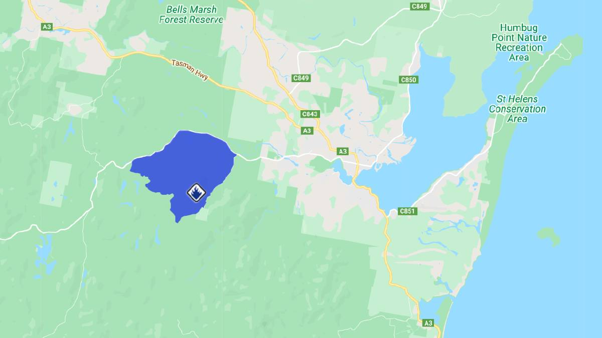 The approximate location of the fire burning west of St Helens. Image: TFS