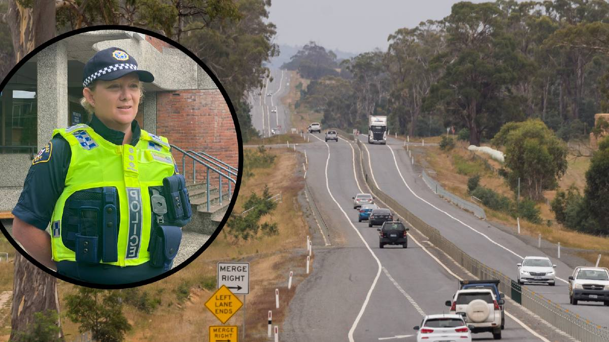 Acting Inspector Mel Death said the driver of a BMW left the vehicle and was struck on the Midland Highway north of Epping Forest. Pictures: Daina Oliver/Phillip Biggs