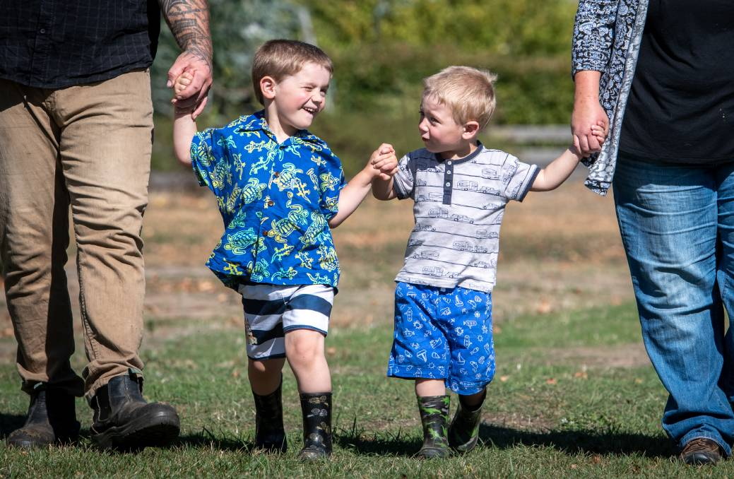Saul, 4, received an autism diagnosis and has access to a range of support from the NDIS, but his little brother Ronan, 2, is on an 18-month waiting list for an assessment and can't get the same support. Picture: Paul Scambler