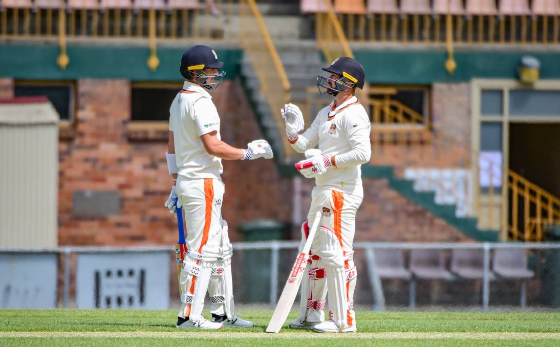 Curtain call: Evan Gulbis and Brayden Stepien notched two double centuries against South Hobart Sandy Bay last round. Picture: Paul Scambler