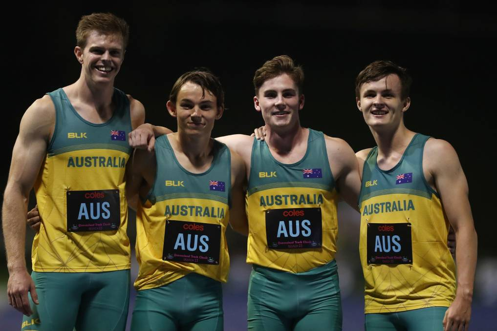 SPRINT: Jack Hale [middle left] is no stranger to the 4x100m relay, having seen national success including at the Queensland Track Classic. Picture: Chris Hyde/Getty Images