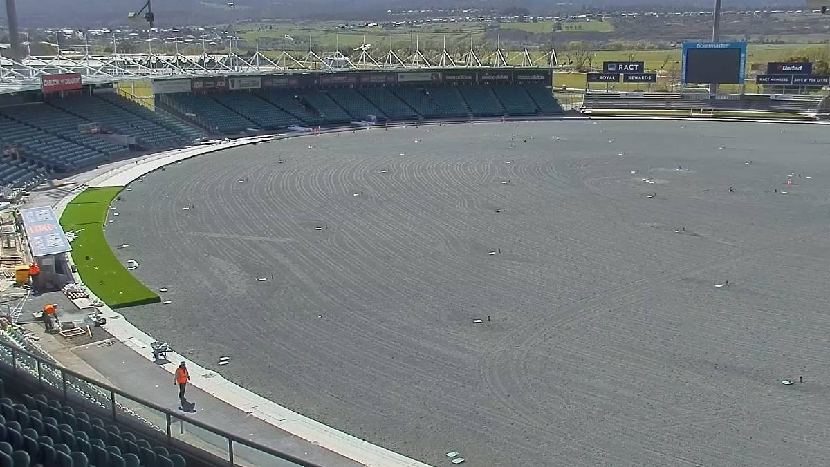 UTAS Stadium during its reconstruction in 2019. Picture: supplied