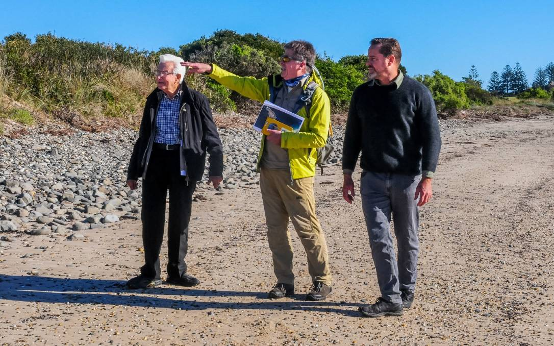 Penguin mapping: Friends of Low Head Penguin Colony's Bruce George, Dr Eric Woehler and Peter Whish-Wilson. Picture: Neil Richardson