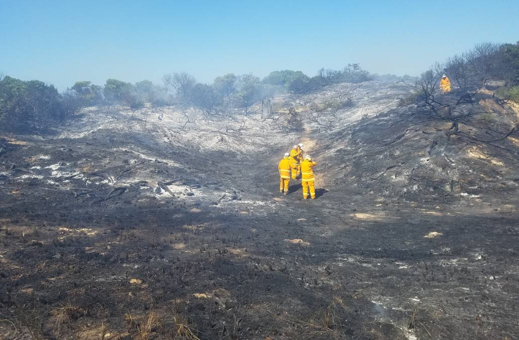 Land burnt by at bushfire at Dolphin Sands on Wednesday. Picture: Supplied
