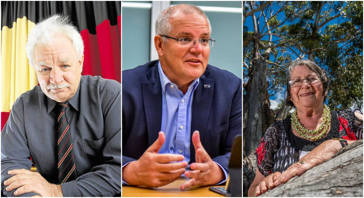 Aboriginal Land Council of Tasmania chairman Michael Mansell, Prime Minister Scott Morrison and Tasmanian Regional Aboriginal Communities Alliance co-chair Aunty Patsy Cameron AO. Pictures: File