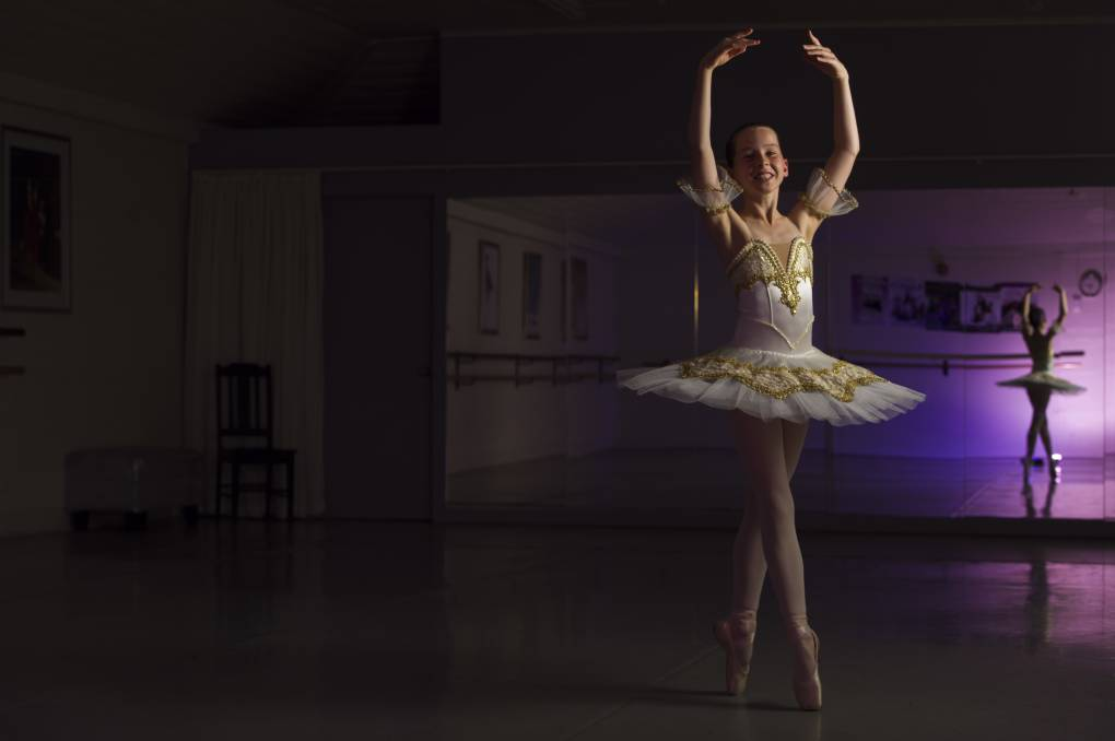 En pointe: 12-year-old ballerina, Dayla Bowman, is off for a six-week placement at the Bolshoi Ballet Academy Intensive Program in Connecticut USA, it is the first time a Tasmanian has been involved. Picture: Scott Gelston.