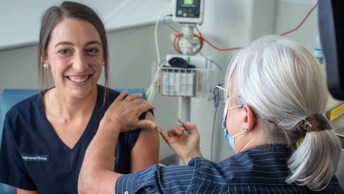 Jen Ives was the first Tasmanian health worker to receive a COVID-19 vaccine. Picture: supplied