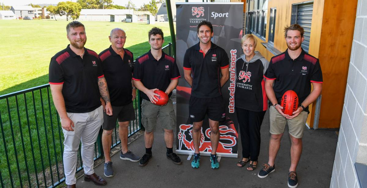 New look: University of Tasmania coach Brodie Tiernan with president Wayne Thompson, Jacob Bonney, UTAS head of sport Jarrod Stephens, Gayle Thompson and Will Geysing. Picture: Neil Richardson.