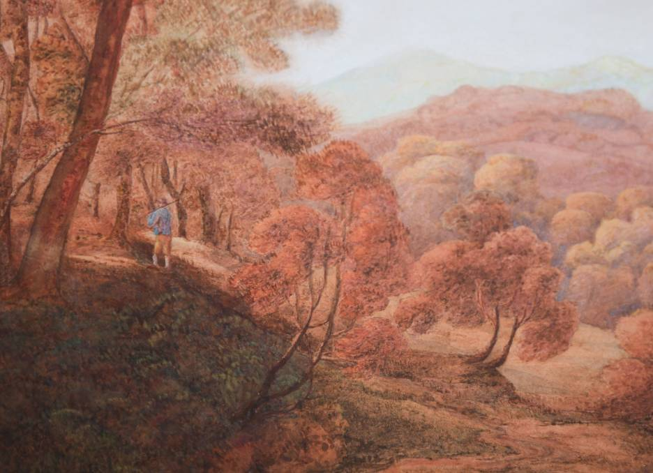 SOLD: A portion of one of the John Glover watercolour landscapes that went under the hammer at Tullochs Auctions on Wednesday. The paintings sold for $7500 each.