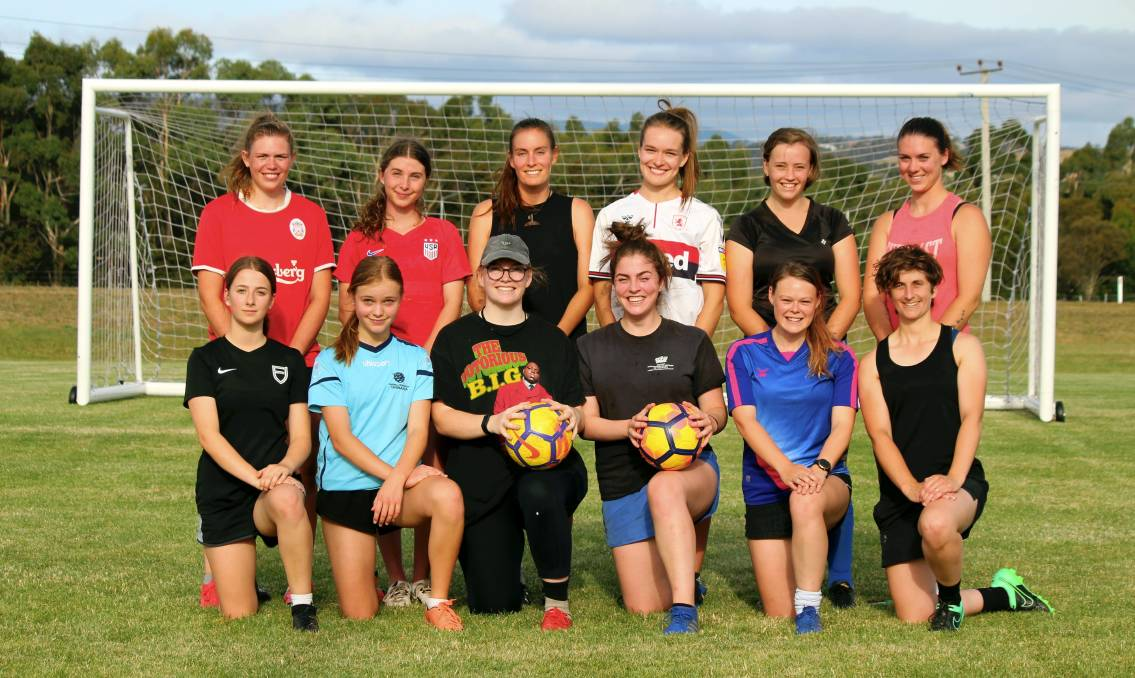 STEP UP: Launceston United squad members. The Birch Avenue club is preparing for its first Women's Super League season. Picture: Hamish Geale