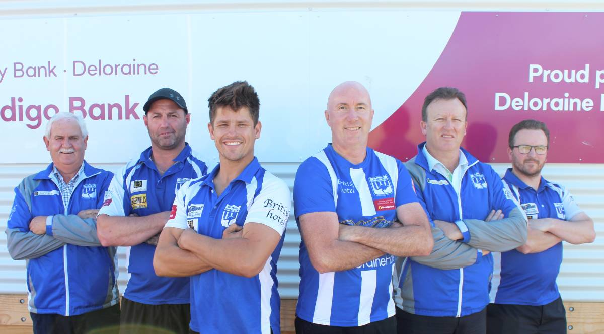 SET: Roos president Don Tracey and coaches Brad Powe, Lochy Dornauf, Craig Lovell, Stewart Nankervis and Adam Robinson. Picture: Hamish Geale
