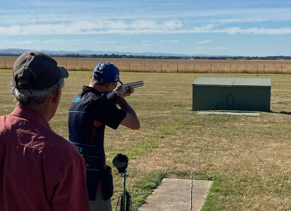 FIRLING LINE: West Coast Clay Target Club junior Jack Stacey fires the customary opening shot. Pictures: Supplied