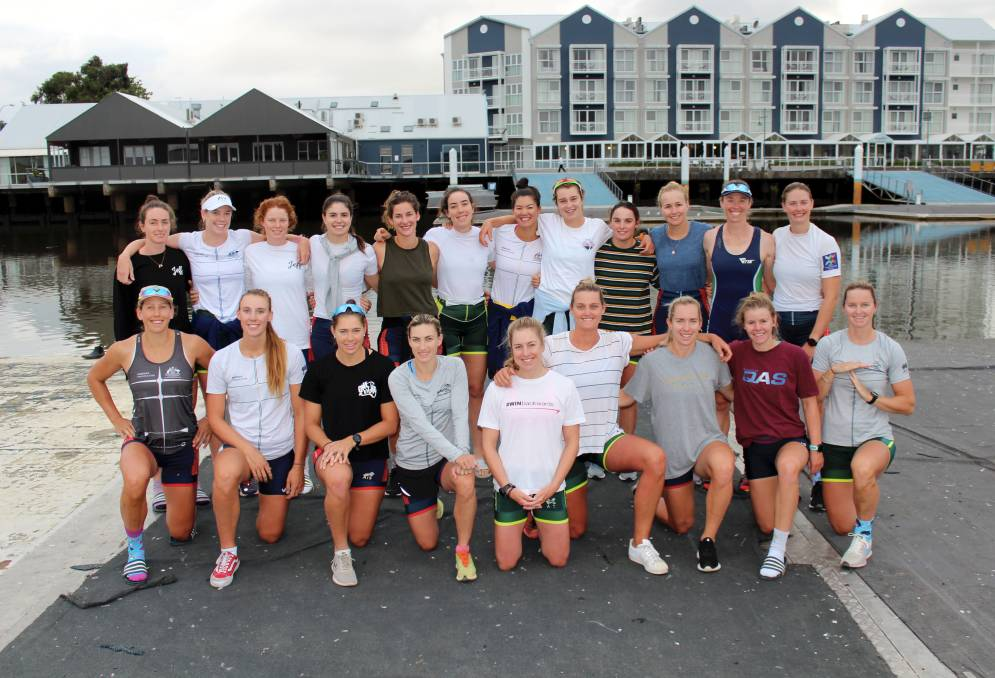 UNITED: Australian women's rowing team has spent this week training at North Esk Rowing Club. Picture: Hamish Geale