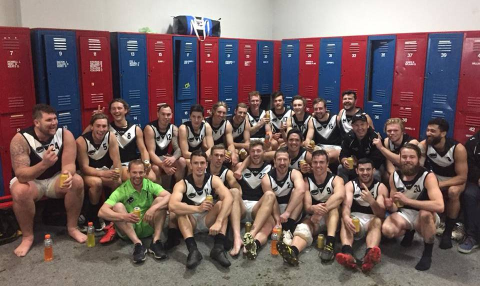 VICTORIOUS: Aaron Viney's NTFA senior side celebrates its 25-goal victory. Picture: Supplied
