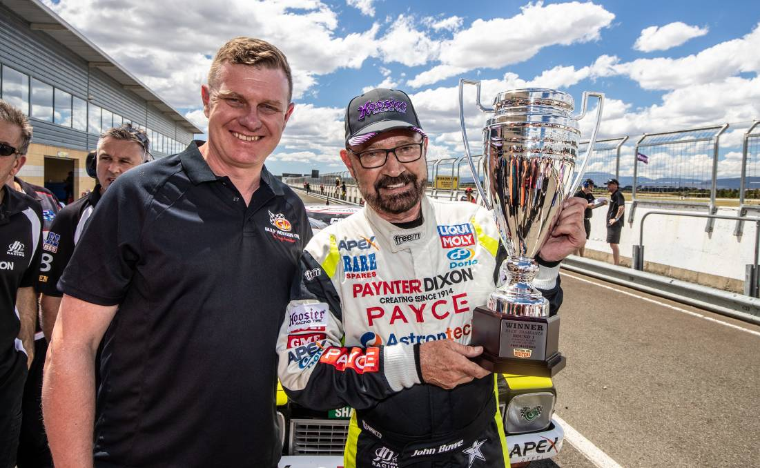 BOWE WOW: Tasmanian racing veteran John Bowe celebrates taking out race three of the Touring Car Masters. Pictures: Daniel Kalisz and Phillip Biggs