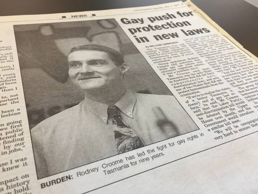 FLASHBACK: A The Examiner newspaper clipping from May 3, 1997 featuring Rodney Croome an his push for new protection laws.