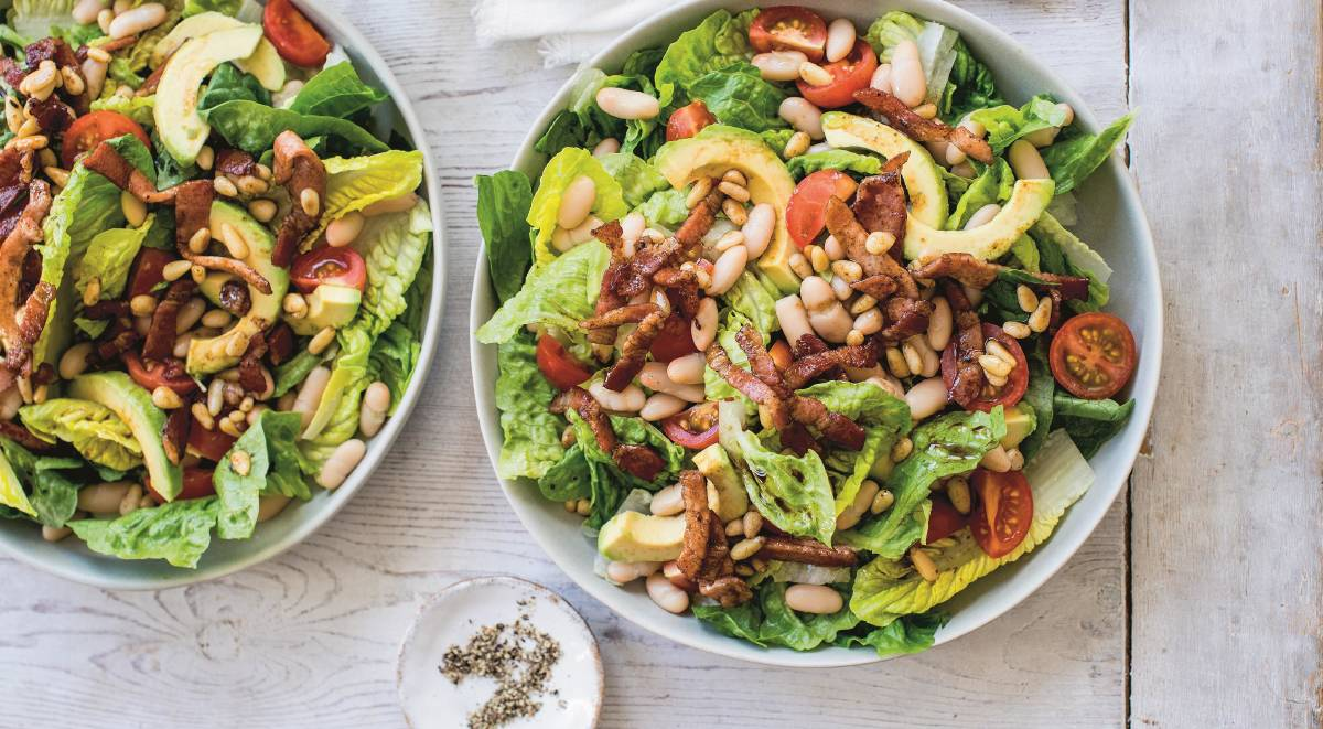 Avocado, crispy bacon and white bean salad. Picture: Smith & Gilmour