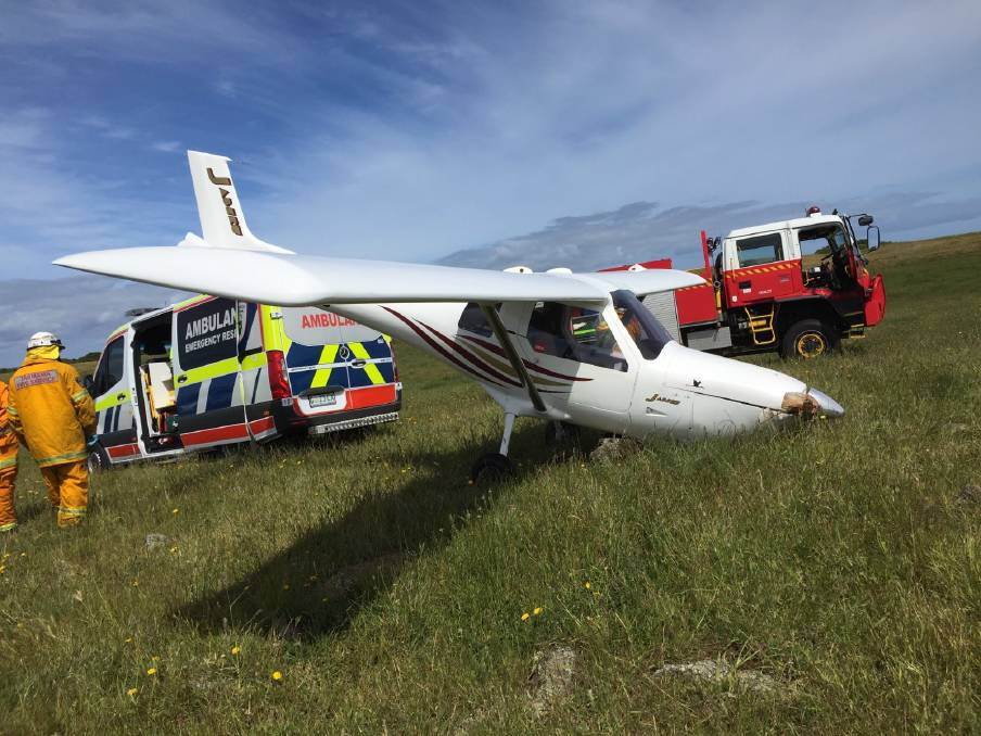 EMERGENCY: Owen Roberts put his Jabiru SP6 down among cattle on a farm at Stanley on Monday morning after the plane lost power mid flight. Picture: Supplied/Tasmania Police