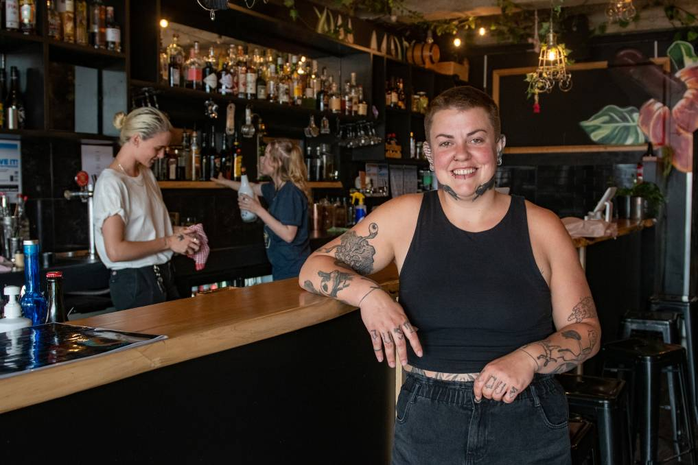 Please ease: Bakers Lane co-owner Stella Thomson with Poppy Hannan and Eliza White behind the bar. Picture: Paul Scambler