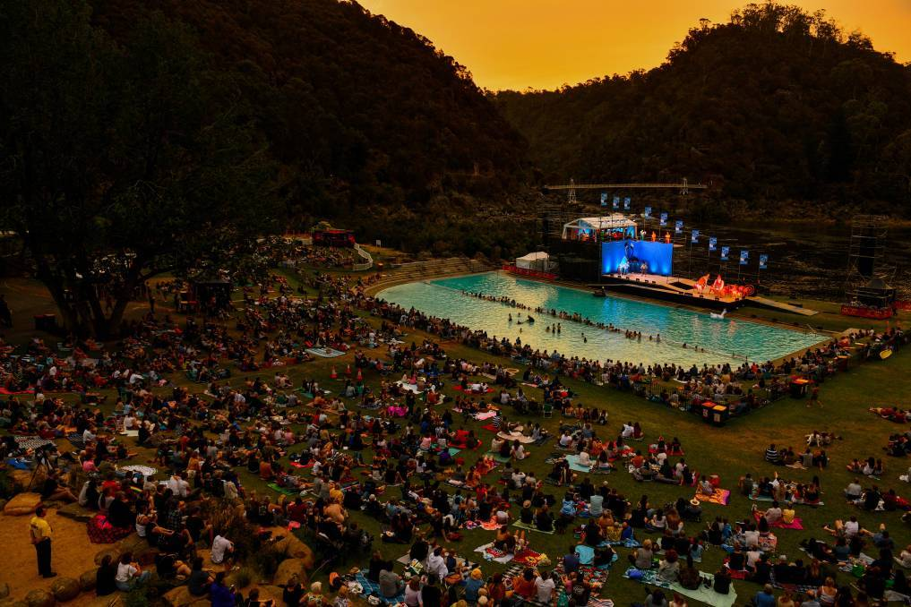 Crowds gather at Cataract Gorge for King Ubu at Mona Foma in 2020. Picture: File