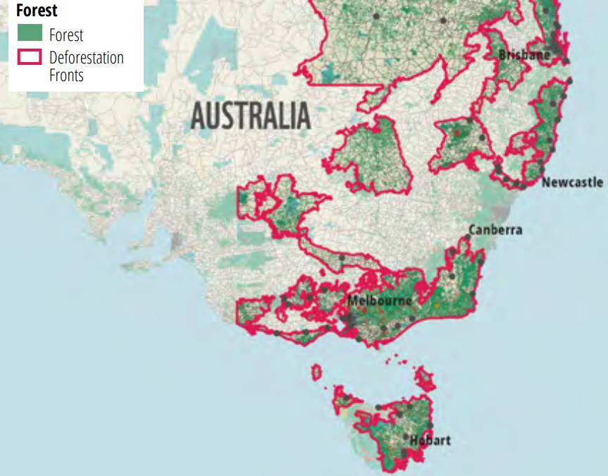 A map showing deforestation fronts in Eastern Australia. Picture: WWF Australia