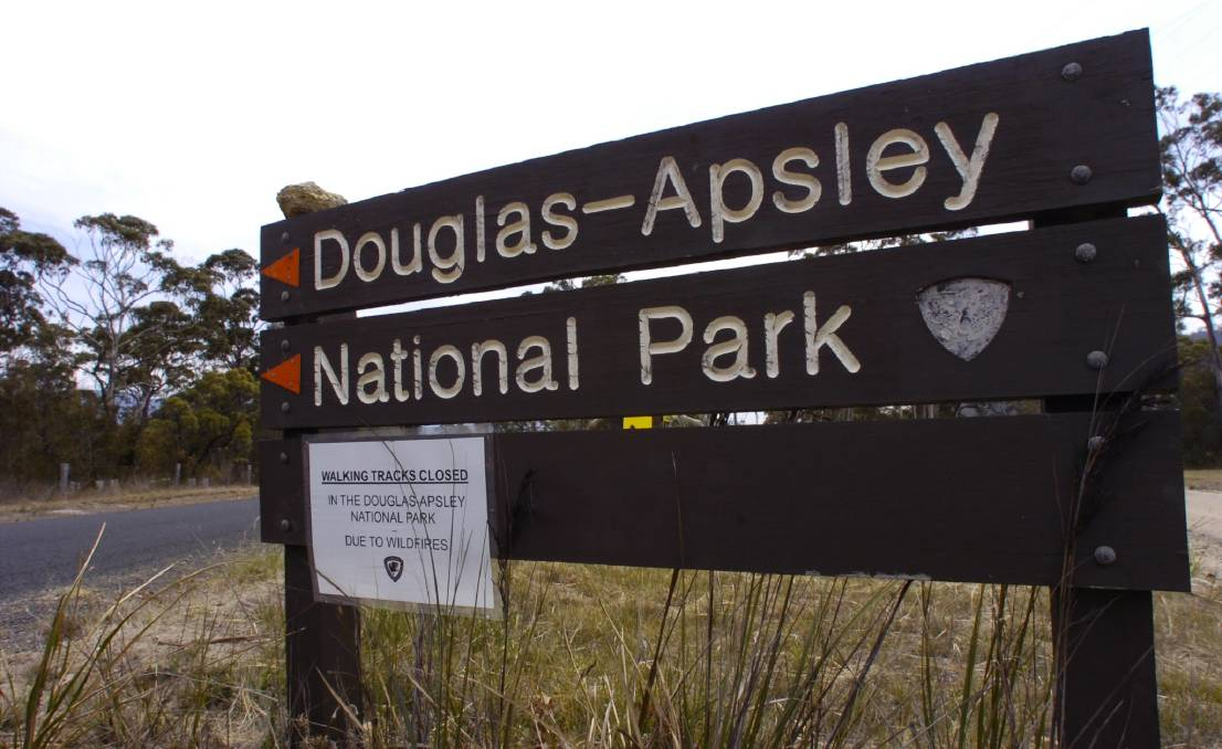 ON THE EDGE: The entrance to Douglas-Apsley National Park on Tasmania's East Coast as it appeared in 2006, when fires burned to the north of the park.