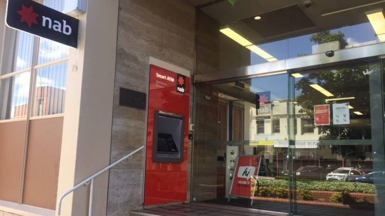 LOCKED UP: Bathurst's NAB branch this afternoon.