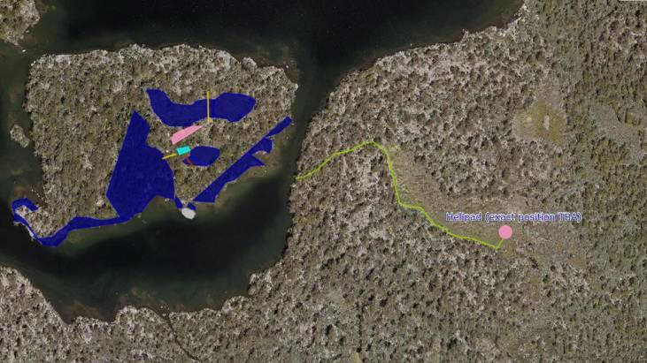 An aerial view of Halls Island, left, with the blue area highlighting a restricted zone for visitors under the tourism proposal. The helicopter landing area is shown to the right. Picture: Supplied