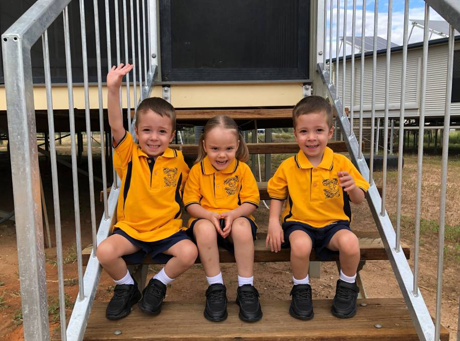 Triplets Parker, Jasper and Mackenzie Dunn have started school in Urandangi this year.