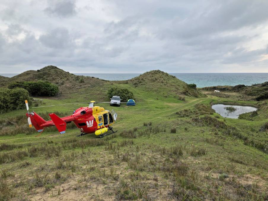 FAMILY FOUND: The Westpac Rescue Helicopter found a family at Low Head and called police, who directed the family to return to their home. Picture: Tasmania Police