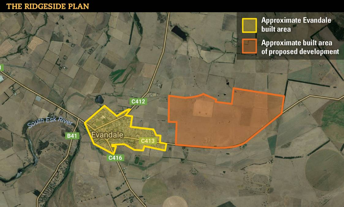 RIDGESIDE: The land bought is about double the size of Evandale. The Northern Midlands Council will consider rezoning the area in July.