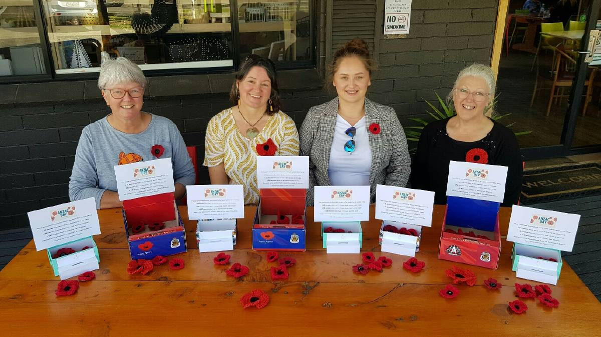 Lilydale Crochet and Knit group members Liz Protti, Katherine Pavokovic, Jana Jovanovic, and Deb Leech with the poppies. Picture: Supplied