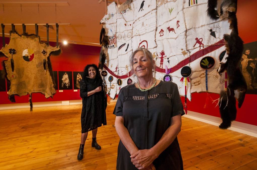 ON SHOW: Artists Maree Clarke and Vicki West at the Wrapped in Culture exhibition at QVMAG Royal Park. Picture: Phillip Biggs