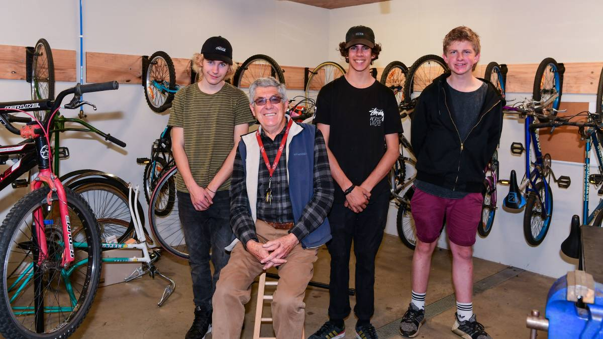 Students from Launceston Big Picture School Ethan Sturzaker, Bob Blackman, Jake Foster, and Wil Hamill repairing old bikes to sell. Picture: Neil Richardson.