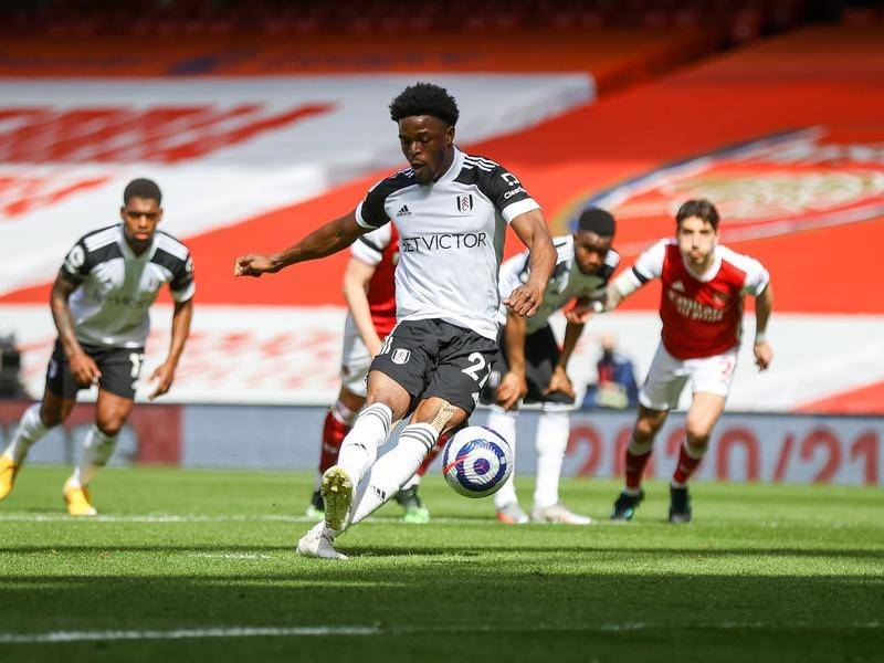 Fulham's Josh Maja slotting home the penalty that beat Arsenal's Mat Ryan at the Emirates Stadium.