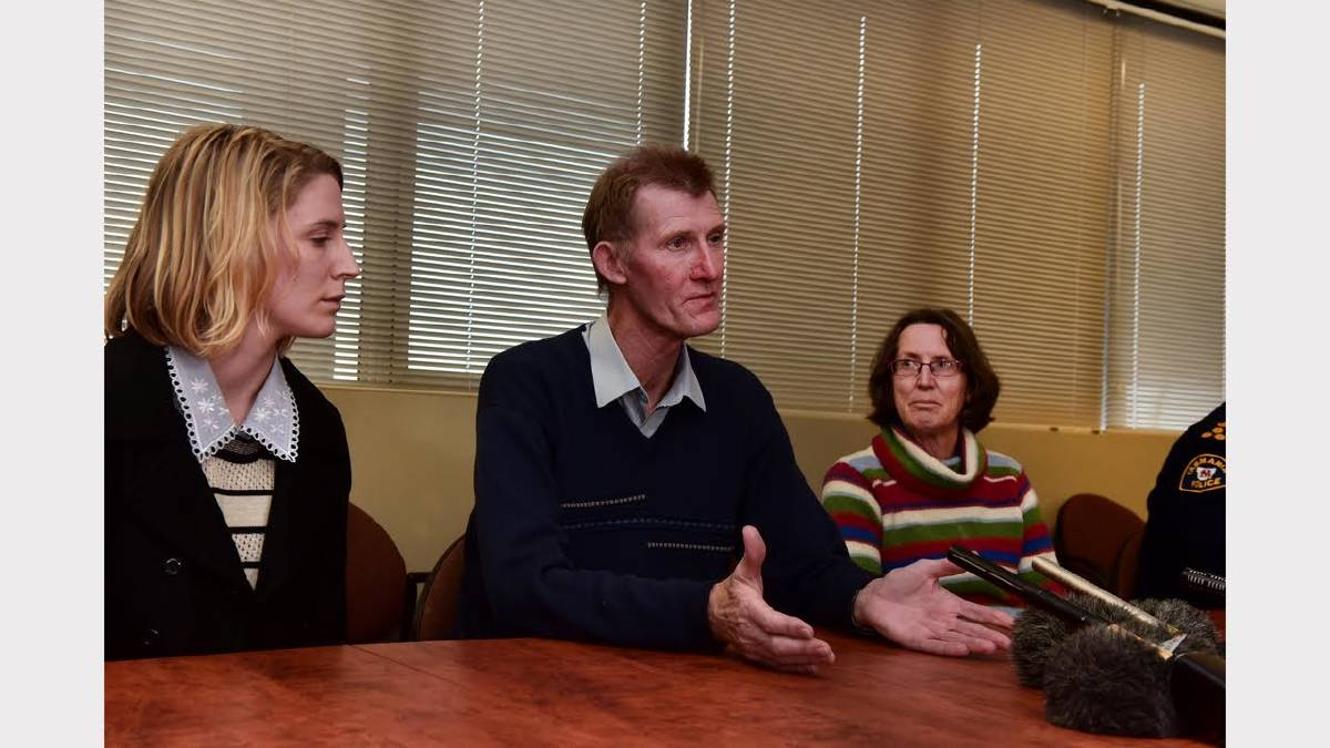 Family of missing 20 year old Ben Plowright, Sally Plowright and her parents Steve and Ruth Plowright, answer media questions at Launceston Police Headquarters. Picture: Neil Richardson.