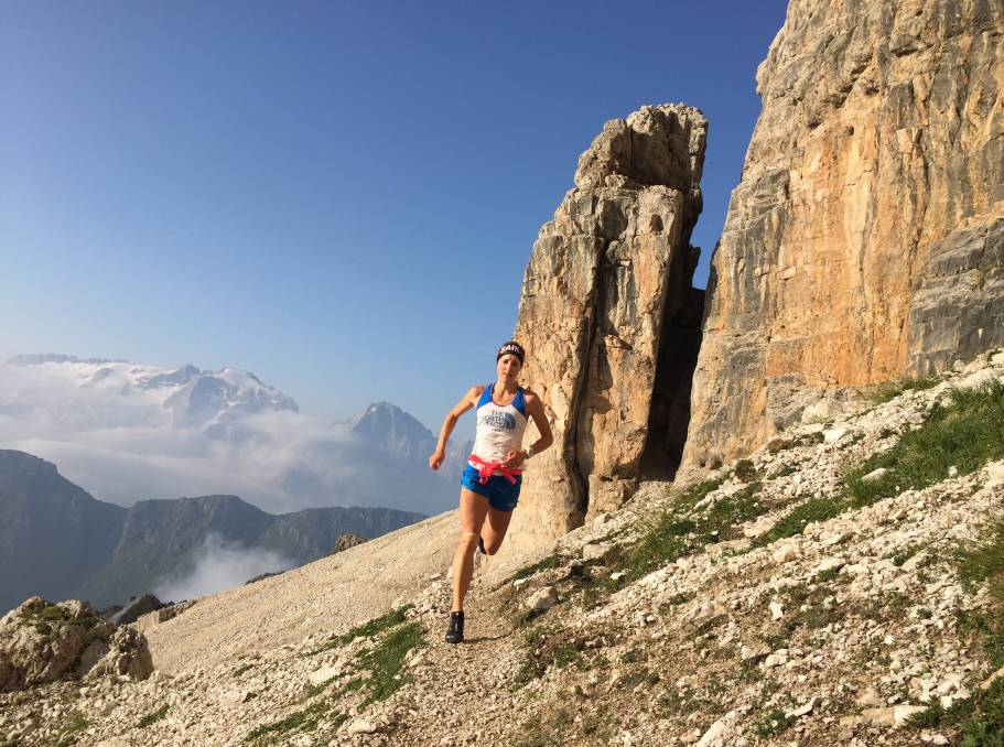 Rock star: Hanny Allston running through the Italian Dolomites. Pictures: Graham Hammond