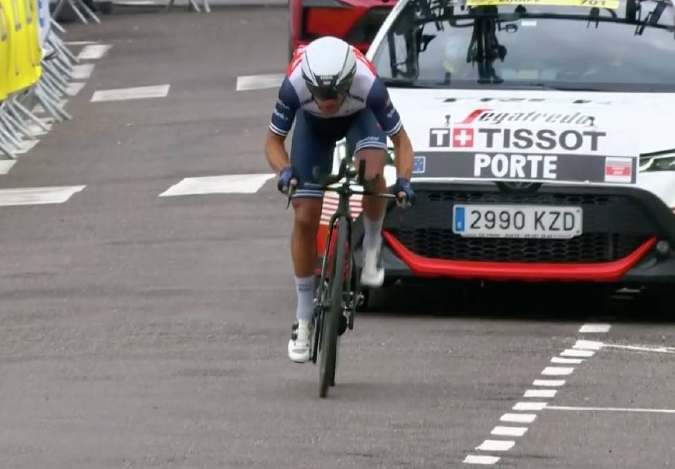 TIME TO KILL: Richie Porte on his way to third place in the Tour de France time trial. Picture: Trek-Segafredo