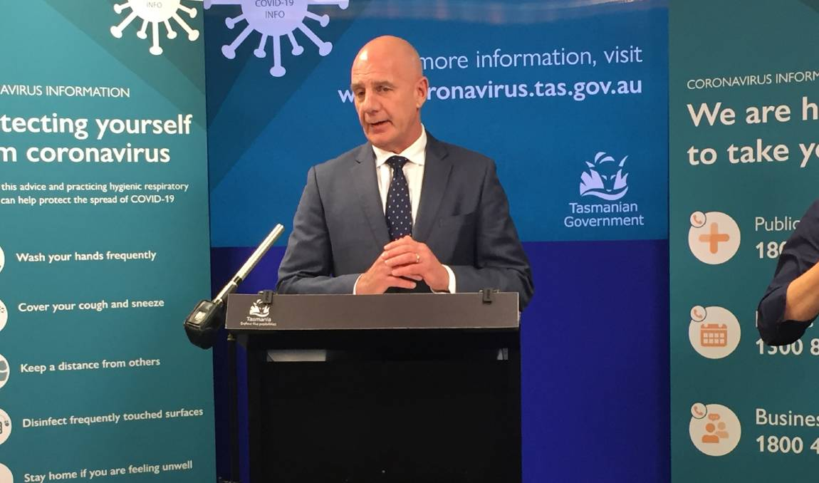 Premier Peter Gutwein provides an update on COVID-19 to the media. Picture: Sue Bailey