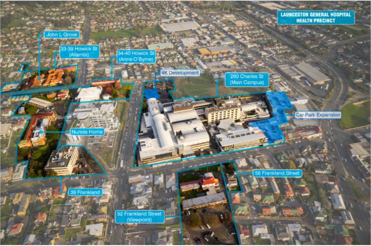 Areas being considered for improvement in the Launceston General Hospital Health Precinct masterplan. Picture: supplied