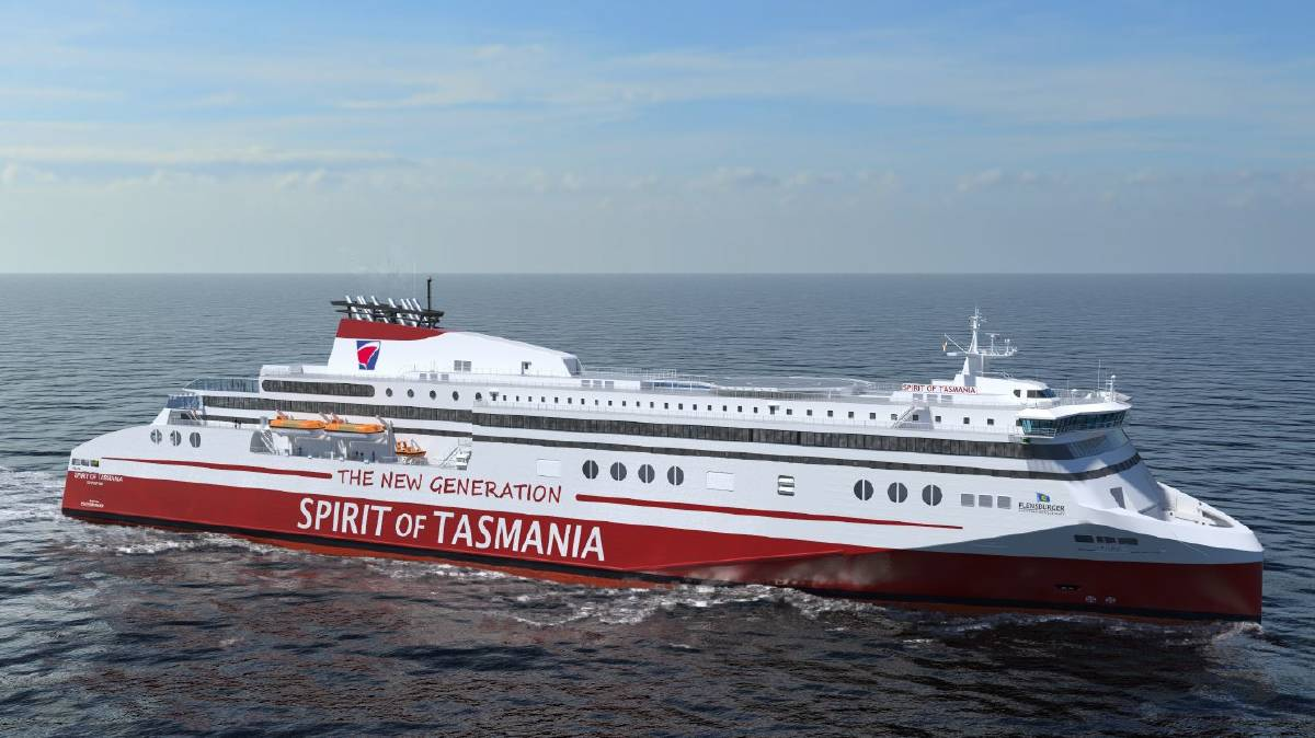 INVESTMENT: An artist's impression of one of the new Spirit of Tasmania vessels. Picture: Flensburger Schiffbau-Gesellschaft