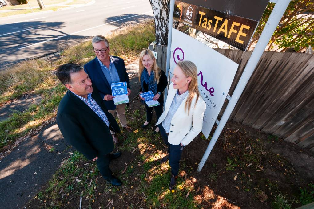 PLEDGE: Incumbent Member for Bass Sarah Courtney talking about the $10 million pledge for the Alanvale campus, with City Mission CEO Stephen Brown and Liberal candidates Simon Wood and Lara Alexander. Picture: Phillip Biggs