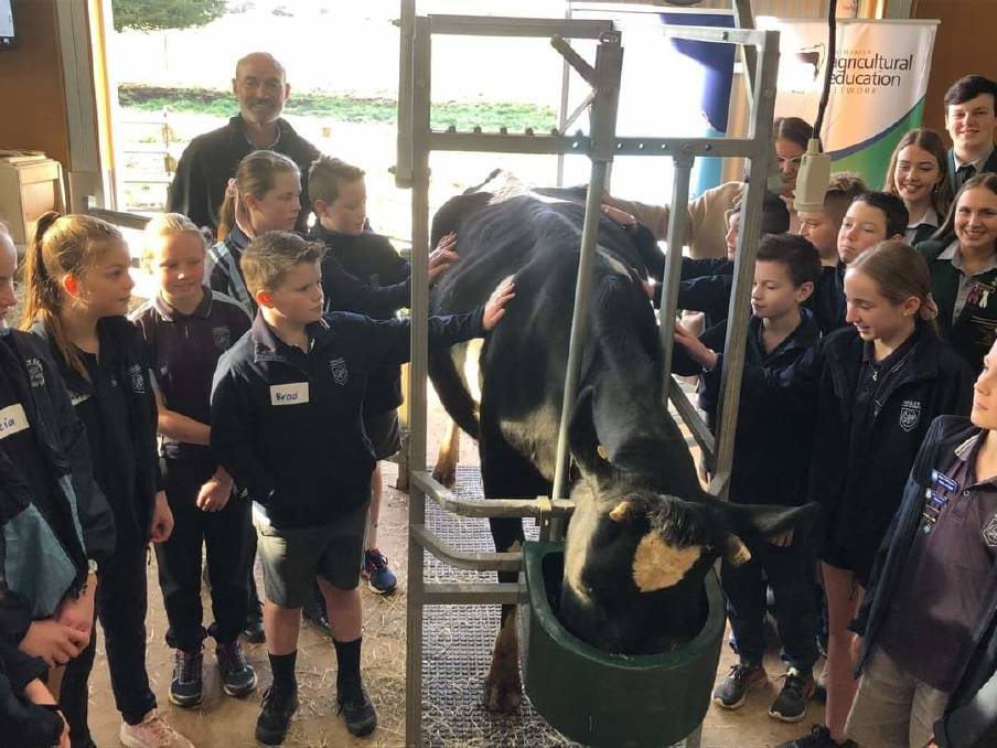 RECOGNISED: Pupils at a live dairy demonstration at Hagley Farm School with Primary Industries Minister Guy Barnett. The visitor centre has won a national biosecurity award. Picture: supplied