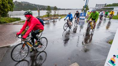 Tyred and wet: Riders had to deal with the elements at the start of Sally's Ride. Picture: Phillip Biggs.