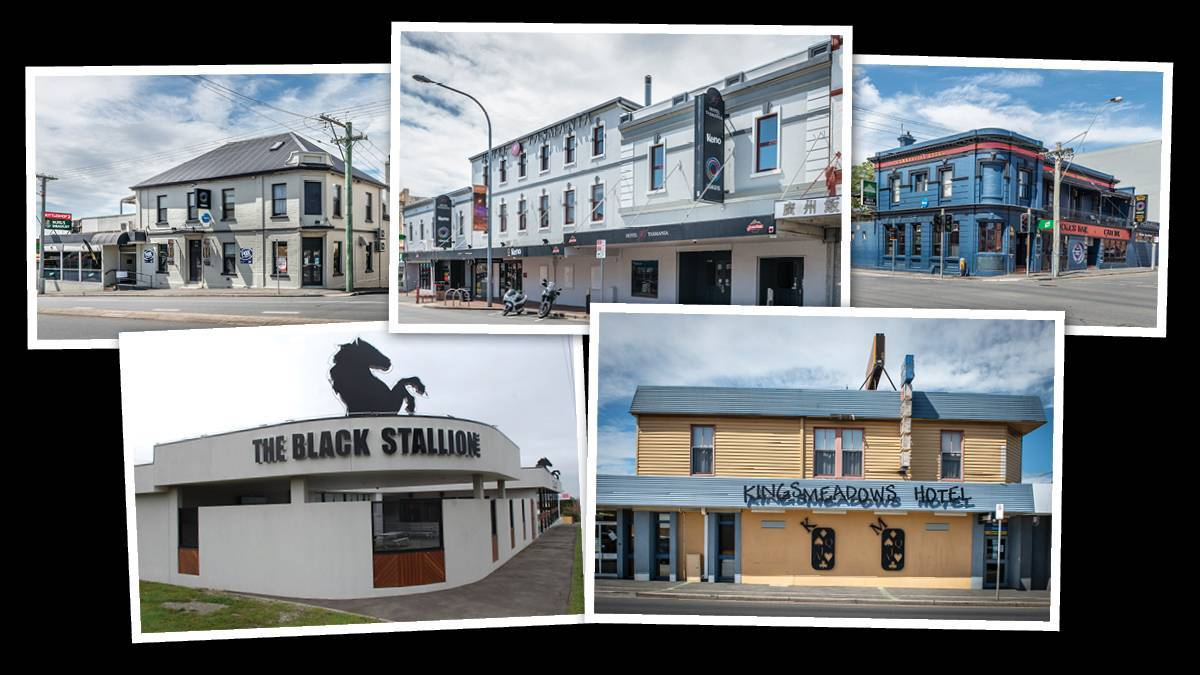 (Top) the All Year Round Tavern, Hotel Tasmania, Commercial Hotel and (bottom) the Black Stallion Hotel and Kings Meadows Hotel. Pictures: Craig George